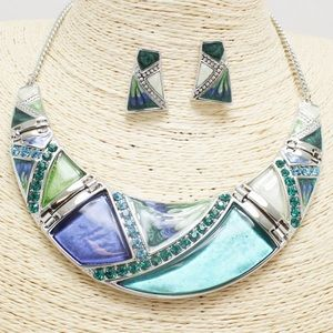 New💕Teal Geometric Rhinestone Necklace Set